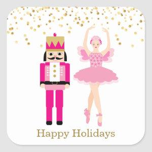 Ballerina & Nutcracker, golden confetti, Christmas Square Sticker