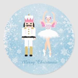 Ballerina & Nutcracker on blue Christmas Classic Round Sticker