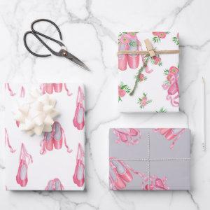 Ballet shoes cute pink baby wrapping paper sheets