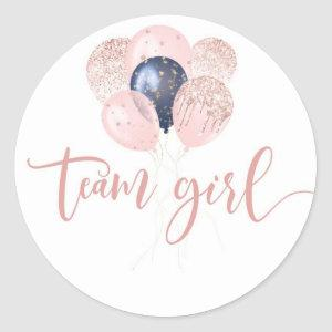 Ballons Blue or pink gender reveal team girl Classic Round Sticker