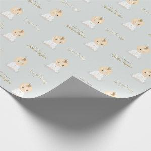 Baptism Baby Boy Wrapping Paper