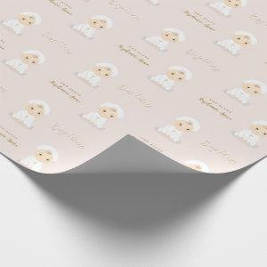 Baptism Baby Girl with Bonnet Wrapping Paper