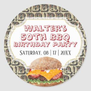 Barbecue Cheeseburger Any Age Birthday Classic Round Sticker