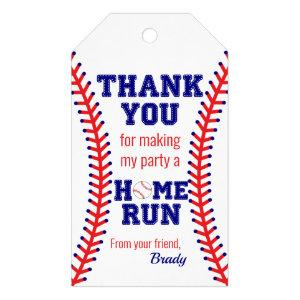 Baseball Birthday Party Sports Classic Thank You Gift Tags