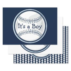 Baseball Blue Sports Its A Boy Baby Shower Wrapping Paper Sheets