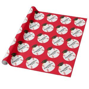 Baseball Graduation Party Sports Wrapping Paper