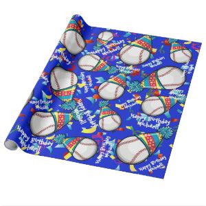 Baseball In a Party Hat | Customized Birthday Wrapping Paper