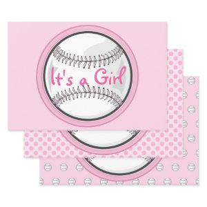 Baseball Pink Sports Its A Girl Baby Shower Wrapping Paper Sheets