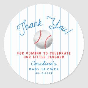 Baseball Sports Baby Shower Thank You Favor Classic Round Sticker