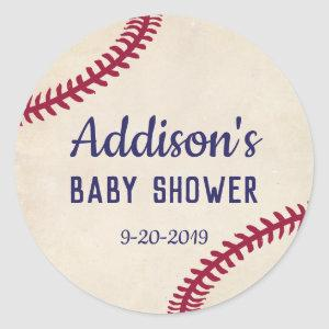 Baseball Themed Baby Shower Stickers, Circle Classic Round Sticker