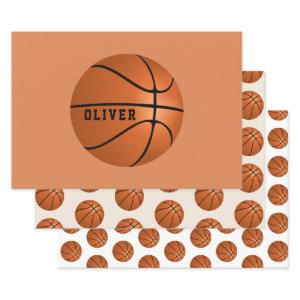 Basketball Ball Pattern Kids Name Birthday Wrapping Paper Sheets