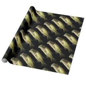 Bass Fish Men's Black Birthday Wrapping Paper