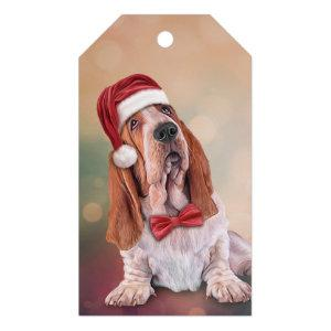 Basset Hound in red hat of Santa Claus Gift Tags