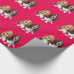 Basset Hound Peace Love Joy Christmas Design Wrapping Paper