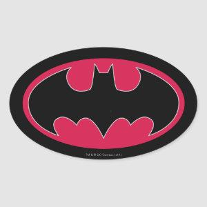 Batman Symbol | Red Black Logo Oval Sticker