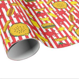 BBQ Burger Hot Dog Grill Out Barbecue Party Wrapping Paper