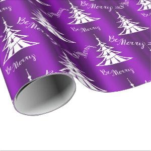 Be Merry Purple Christmas Wrapping Paper