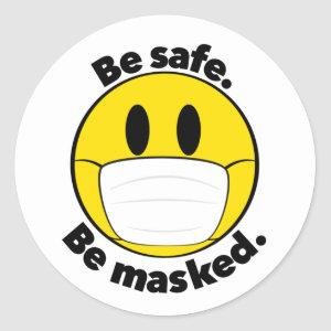 Be Safe Be Masked Illustrated Classic Round Sticker