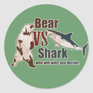 Bear vs. Shark. Who will win? you decide. Classic Round Sticker