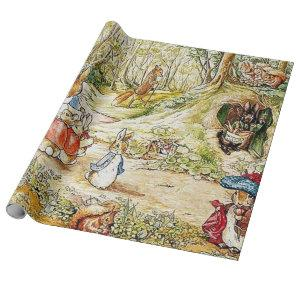 Beatrix Potter Rabbit Family Illustration Wrapping Paper