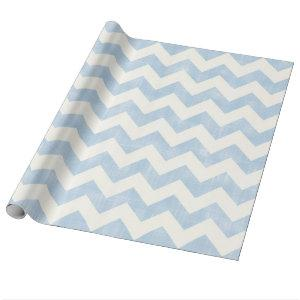 Beautiful Baby Blue Chevron Zig Zag Pattern Wrapping Paper