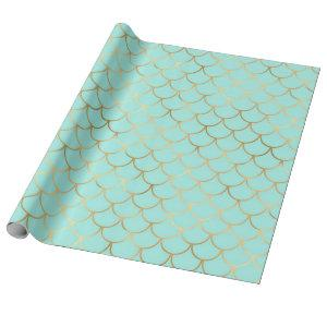 Beautiful Blue and Golden Mermaid Scales Wrapping Paper