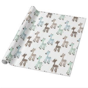 Beautiful Blue Giraffe Baby Pattern Wrapping Paper