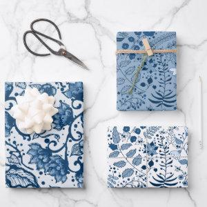 Beautiful Classic Blue and White Floral Patterns Wrapping Paper Sheets