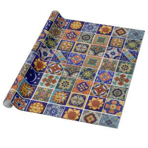 Beautiful Mexican Tile Image Colorful Southwest Wrapping Paper