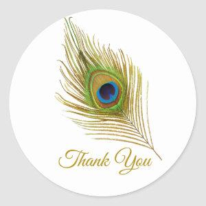 Beautiful peacock feather golden Thank You Classic Round Sticker