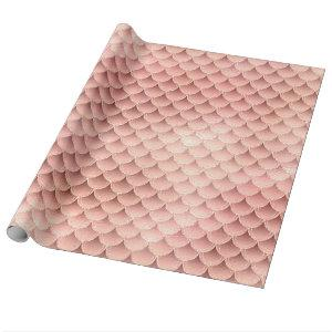 Beautiful Rose Gold Pink Glitter Mermaid Scales Wrapping Paper