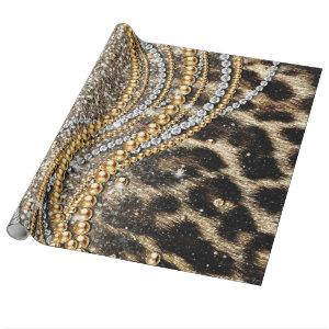 Beautiful trendy leopard faux animal print wrapping paper