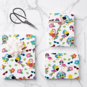 Beautiful Tropical Birds Colorful Paradise Pattern  Sheets