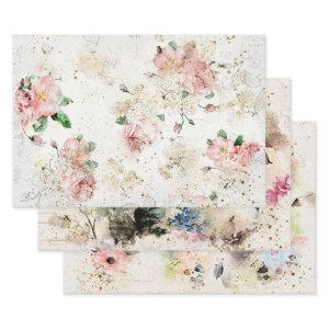 Beautiful Watercolor Floral Vintage Designs Wrapping Paper Sheets
