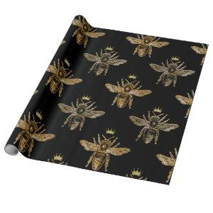 Bee Queen Honey Black Bronze Vintage Crown Wrapping Paper