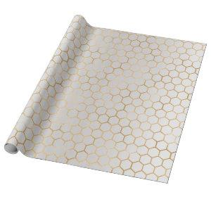 Bee Queen Honey Comb Metallic Gold Sepia Gray Wrapping Paper