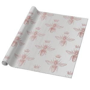 Bee Queen Rose Gray Blush Honey Bridal Honeymoon Wrapping Paper