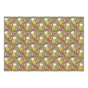 Beer and Pizza Graphic Wrapping Paper Sheets