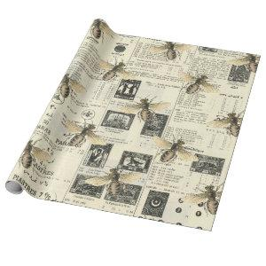 Bees and Vintage Catalog Wrapping Paper