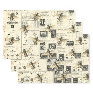 Bees and Vintage Catalog Wrapping Paper Sheets