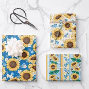 Bees Sunflowers Wrapping Paper Set of 3