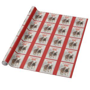 Belgian Horse Team Sleigh Bells Ring Pattern Wrapping Paper