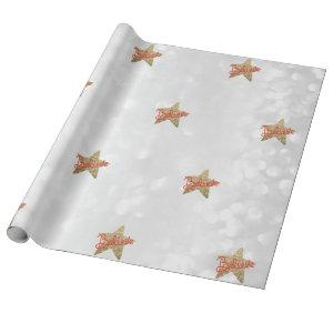 Believe Faux Glitter Star Christmas Wrapping Paper