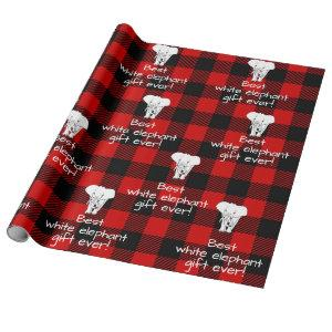 Best White Elephant Gift Exchange Buffalo Plaid Wrapping Paper