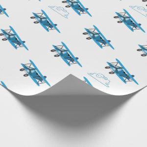 Bi-Plane In Clouds Airplane Wrapping Wrapping Paper