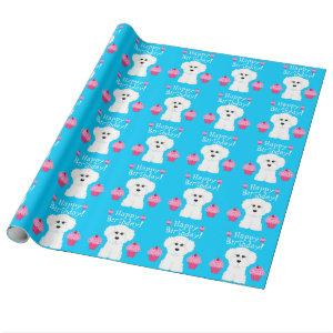 Bichon Frise with Cupcakes Birthday Wrapping Paper