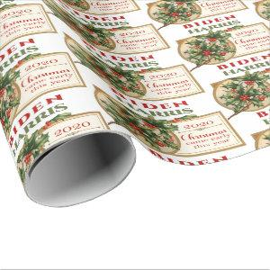 Biden/Harris 2020 Vintage Christmas Floral Wrapping Paper
