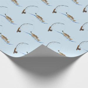 big fish on hook wrapping paper