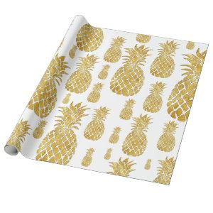 big golden pineapples pattern wrapping paper