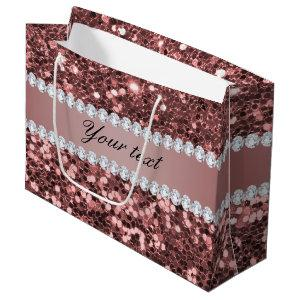 Big Rose Gold Faux Glitter and Diamonds Large Gift Bag